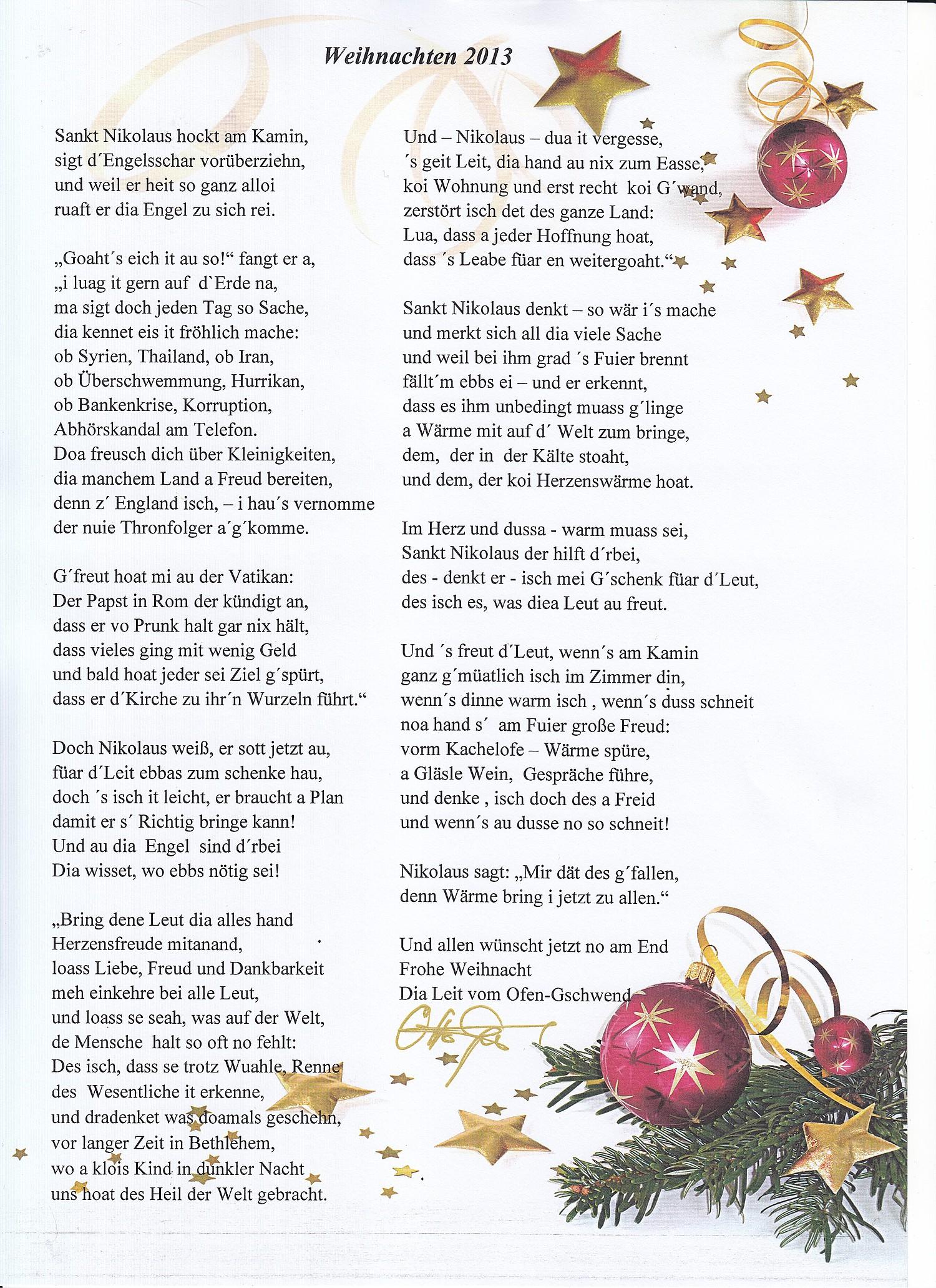 Weihnachtsgedicht 2013
